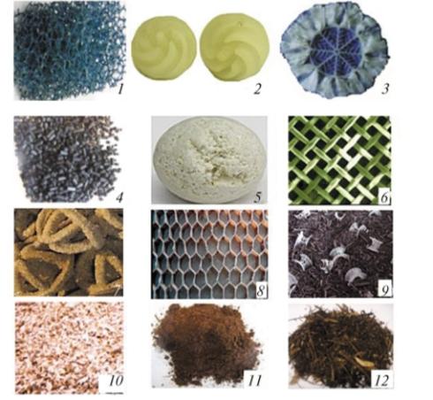 Рис. 1. Насадки для биофильтров: 1 – насадка из пенополиуретана; 2 – полимерные шарики с винтовыми лопастями; 3 – пластиковая миникольцевая насадка; 4 – уголь активированный; 5 – керамические шарики; 6 – сетчатая насадка из полиэстера; 7 – синтетическая насадка PRD Tech; 8 – сетчатая насадка NOMEXTM; 9 – смесь компоста и пластиковых седлообразных насадок; 10 – древесная щепа; 11 – торф; 12 – смесь веток и листьев