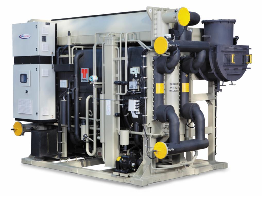 Рис. 3. АБХМ Thermax на выхлопных газах. Идеально подходят для объектов с газотурбинными установками, позволяют для выработки холода утилизировать теплоту выхлопные газов газовых турбин, когенерационных установок, генераторов. Мощность – 180…7 000 кВт. Температура холодной воды – минимум 0°С