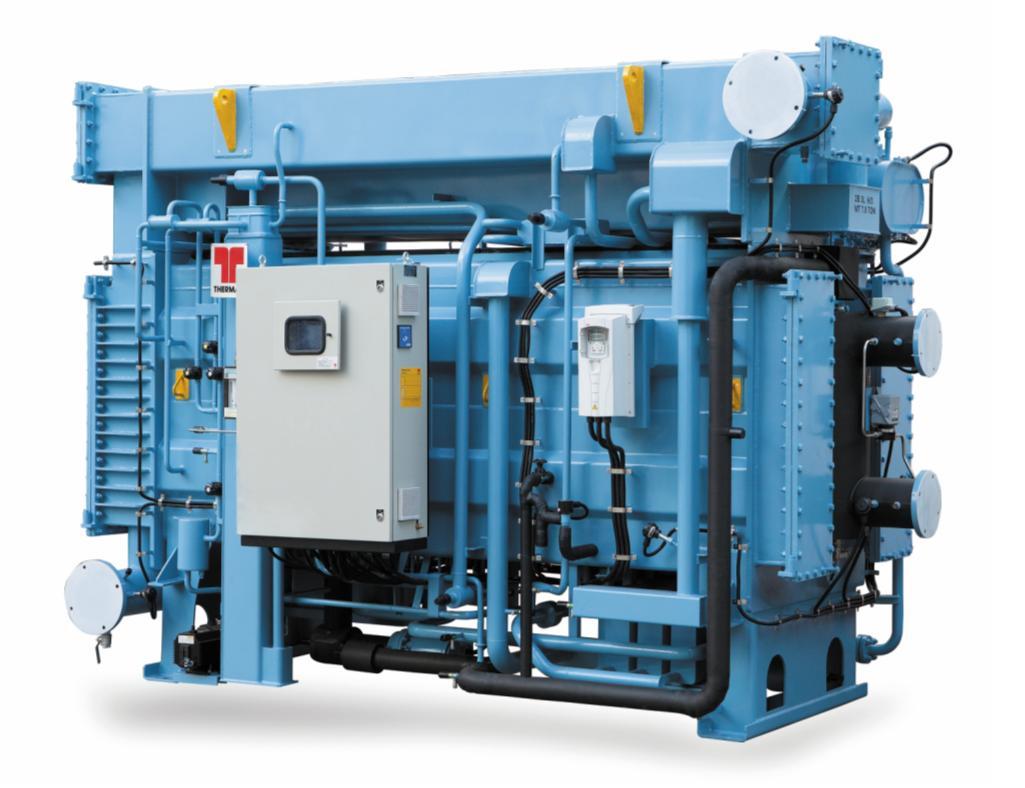 Рис. 4. АБХМ Thermax на паре. Применимы, например, при наличии паровых котлов. Актуальны для технологических процессов, в которых используется или попутно производится пар. Мощность – 175…12 300 кВт. Температура холодной воды – минимум 0°С. Давление пара – 0,06…0,4 МПа для одноступенчатых и 0,4…1 МПа для двухступенчатых АБХМ