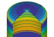 Рис. 1. Карта распределения напряжений внутренней емкости изотермического резервуара