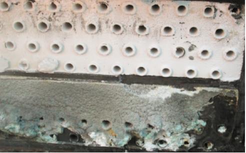 Рис. 4. Отложения в ХВ-201. 1-я секция установки Изомалк-2 (декабрь 2014 г., останов в межремонтный пробег)