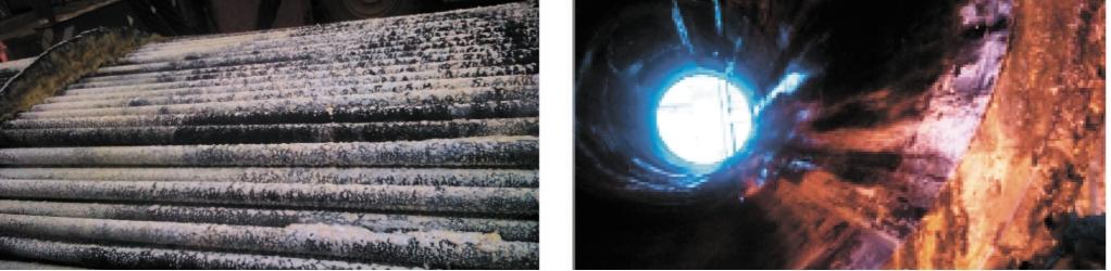 Рис. 6. Трубный пучок (а) и корпус Х-1/3 (б) установки АВТ-4 (ремонт 2014 г.). Причина – осаждение продуктов взаимодействия H2S c поглотителем сероводорода, вводимым в нефть на промыслах
