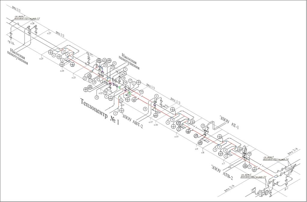 Рис. 1. Изометрическая схема магистральных трубопроводов тепловой сети