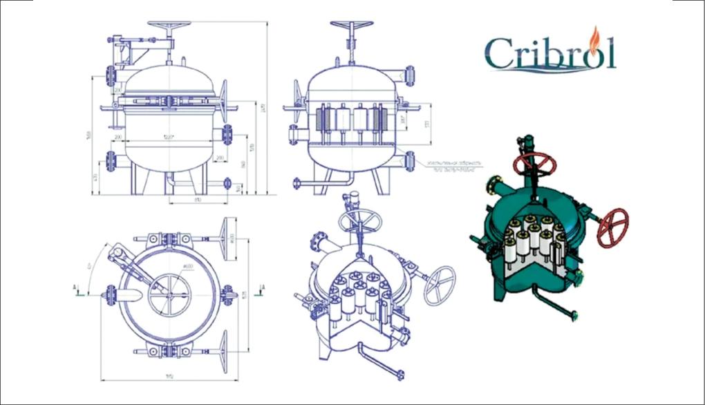 Рис. 4. Конструкция установки разделения водомасляных эмульсий «Криброл-МЭ/14» для работ под давлением 0,5...4 МПа