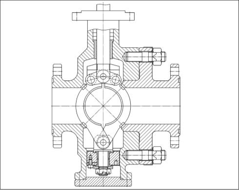 Рис. 3. Положение «закрыто» шарового сегментного крана типа КС с боковым разъемом