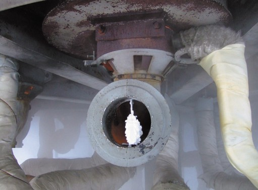 Рис. 2. Забивка снегом шибера воздуха инжекционной горелки ГМГ-2м
