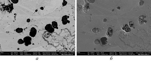 Рис. 8. Электронно-микроскопические снимки пузырьков метана в стали 20: а – во вторичных электронах; б – в обратно-рассеянных электронах
