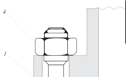 Рис. 1. Конструкция РС сосуда высокого давления с принудительным уплотнением: 1 – фланец крышки; 2 – фланец корпуса; 3 – шпилька; 4 – гайка