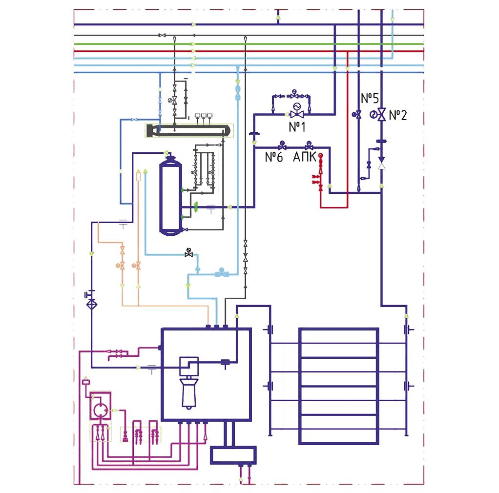 Рис. 1. Схема компоновки основного оборудования КС МГ из 6 ГПА в блочно-модульном исполнении: 1 – коллектор всасывания; 2 – коллектор сбора продуктов очистки газа; 3 – емкость сбора продуктов очистки высокого давления; 4 – фильтр-сепаратор; 5 – ГПА; 6 – коллектор азотной продувки; 7 – коллектор буферного газа; 8 – коллектор импульсного газа; 9 – АВО газа