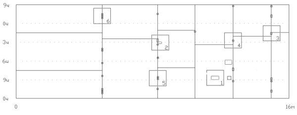Рис. 4. Схема расположения участков, для которых построены детальные диаграммы распределения нормальной составляющей напряженности магнитного поля вблизи металла