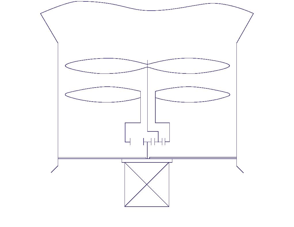 Рис. 2. Схема привода с применением для каждого из коаксиальных валов отдельного мотор-редуктора