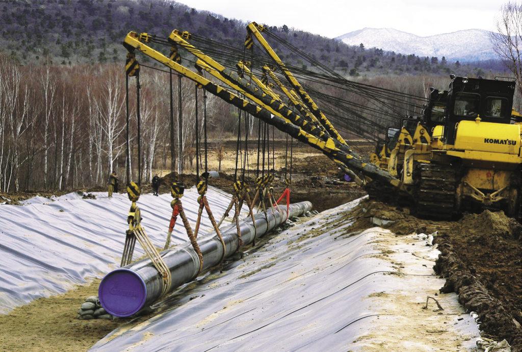 Рис. 1. Технология прокладки трубопровода в осложненных условиях Дальнего Востока