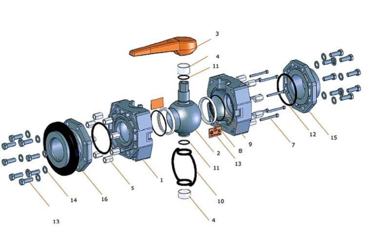 Рис. 2. Составные части шарового крана серии С110ASV фирмы Stu∙∙bbe (Германия) [5]