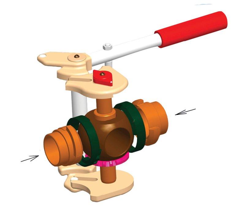 Рис. 4. Кинематика механизма шарового крана с управляемыми седлами