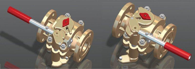Рис. 5. Шаровой кран с управляемыми седлами с углом поворота рукоятки 180°