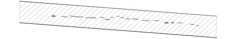 Рис. 2. Пример развившейся водородной коррозии в стенке пропанового буллита из стали 09Г2С (а) при длительной его эксплуатации и предполагаемое расположение металлургических несплошностей в этом месте до развития водородной коррозии (б)