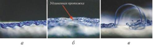 Рис. 2. Структура спроектированного переплетения из полимерных мононитей после термофиксации в разрезе: а – исходная; б – с удлиненными протяжками при сдвиге ушковой гребенки на один шаг; в – со сдвигом на три игольных шага [5]