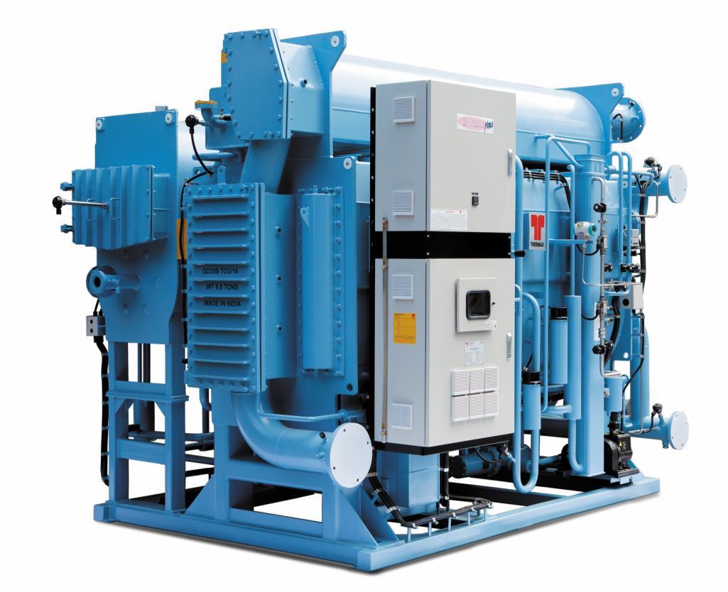 Рис. 2. АБХМ Thermax на сжигании топлива (газ, дизельное топливо и др.). Оснащаются горелками, которые могут работать на различных видах топлива. Могут производить только холодную (летом), только горячую (зимой) или холодную и горячую воду одновременно. От АБХМ на горячей воде отличаются более высокой энергетической эффективностью. Мощность – 70…5 350 кВт. Температура холодной воды – минимум 0°С