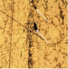 Рис. 5. Графитовые включения в сечении металла барабана