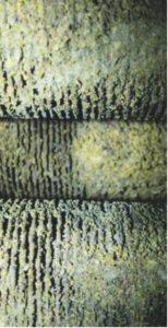 Рис. 11. Забитое отложениями межреберное пространство труб змеевика конвекции