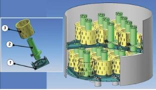 Рис. 1. Центробежная тарелка конструкции НПК «Кедр-89»: 1 – полотно тарелки; 2 – переточная труба; 3 – сепарационная обечайка