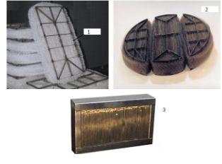 Рис. 6. Сепарационное оборудование: 1 – каплеуловитель «Ультрасет» из полимерных нитей; 2 – каплеуловитель «Ультрасет» из коррозионно-стойкой сетки; 3 – каплеуловитель «КСМ»