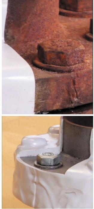 Результат испытаний в соляном тумане в течение 6 мес.: а – поверхность фланца без покрытия; б – половина фланца с покрытием OxiFree