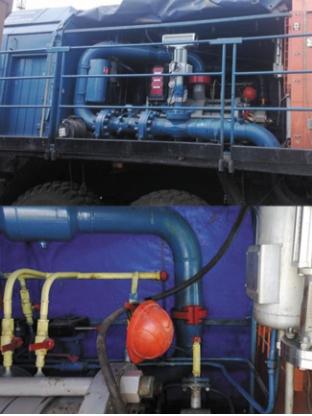Рис. 2. Обвязка нефтяного откачивающего насоса с применением бугельных соединений