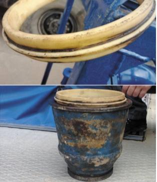 Рис. 5. Самоуплотняющееся кольцо из капролона после эксплуатации