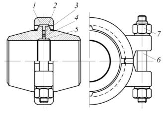 Рис. 6. Бугельное соединение с резиновым уплотнительным кольцом