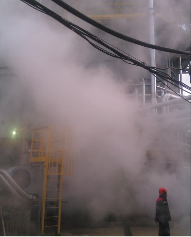 Рис. 2. Рабочая «высота» срабатывания паровой завесы при защите печи от взрывоопасного облака