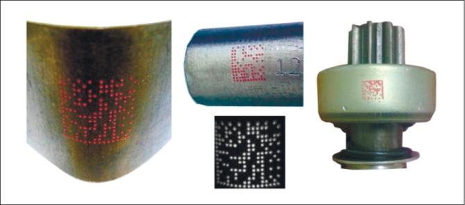 Рис. 3. Флуоресцентные иглоударные маркировки на криволинейных поверхностях
