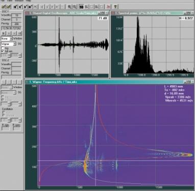 Рис. 2. Окно программы A-Line OSC Processing. Спектрограмма сигнала, дисперсионные кривые и результаты измерения интегральной толщины на участке газопровода