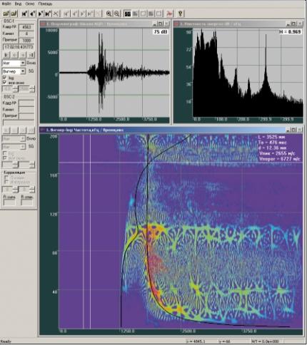 Рис. 4. Наложение дисперсионных кривых на спектрограмму для случая неравномерной толщины с профилем типа «ступенька»