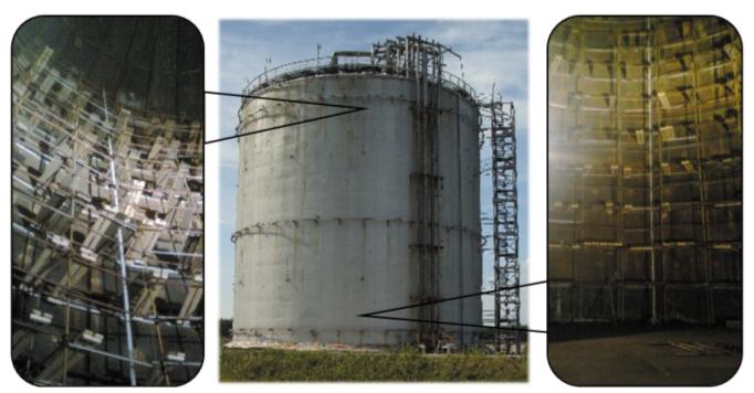 Рис. 2. Монтаж строительных лесов для проведения технического диагностирования внутренней металлической емкости изотермического резервуара