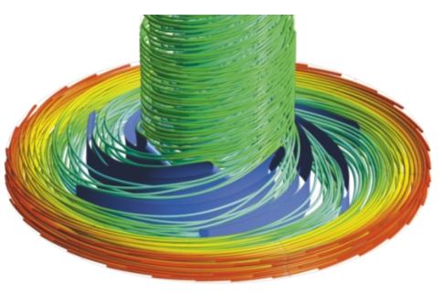 Рис. 3. Течение жидкости в каналах рабочего колеса