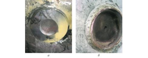 Рис. 3. Отремонтированный узел: а – вид изнутри аппарата; б – вид снаружи аппарата