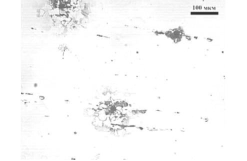 Рис. 4. Металлография участка с зафиксированным УЗК неметаллическим включением