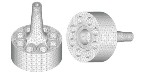Рис. 2. Конечно-элементная модель камеры нагнетания