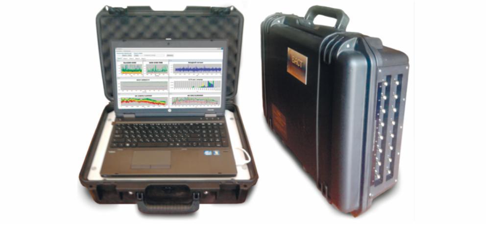 Рис. 1. Мобильная система мониторинга состояния на 16 каналов непрерывного измерения и онлайн анализа вибрации и тока с возможностью подключения модулей оперативной диагностики типовых агрегатов