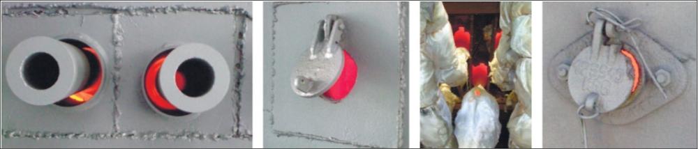 Рис.8. Характерные примеры подсоса холодного воздуха в элементах конструкции печей а – в гильзах труб пода печи; б – в незакрытый смотровой лючок; в – в гильзах труб пода печи; г – в незакрытый смотровой лючо
