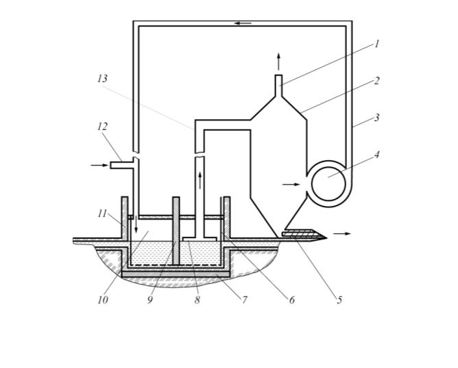 Рис. 3. Устройство для электрофлотационной очистки сточных вод с использованием  полученного  водорода