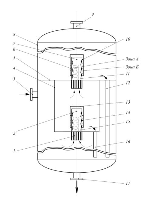 Рис. 4. Устройство для силовой центробежной очистки потока пылегазовоздушных выбросов от вредных жидких примесей