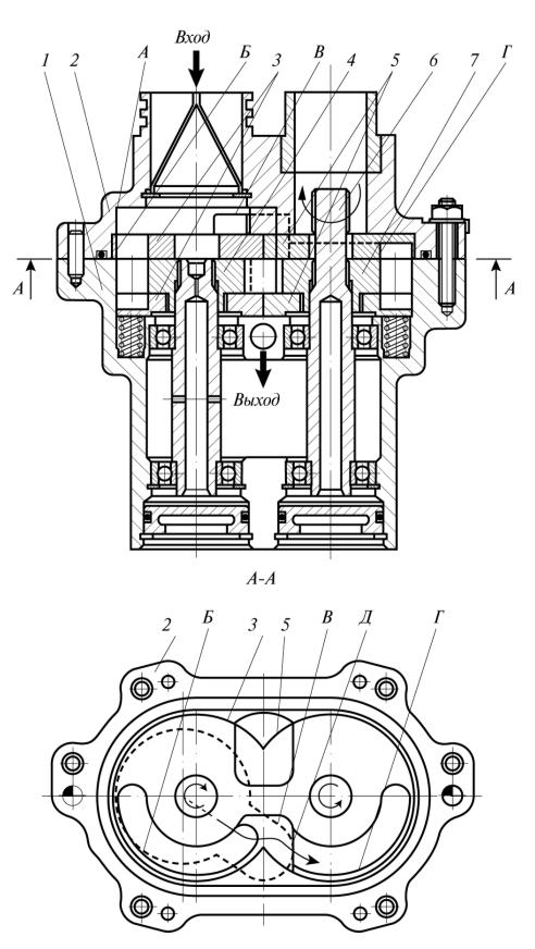 Рис. 4. Шестеренный насос внешнего зацепления с компенсаторами-подпятниками торцовых зазоров и каналами подвода перекачиваемой жидкости под давлением к шестерням