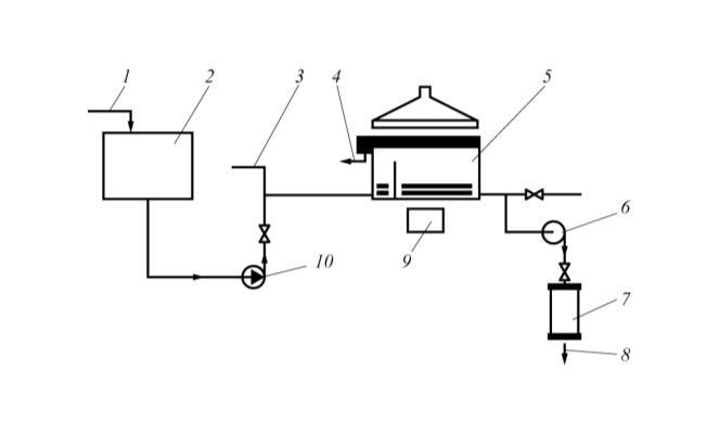 Рис. 4. Технологическая схема электрофлотационной установки для очистки производственных сточных вод от ионов тяжелых металлов и нефтепродуктов