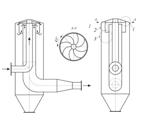 Рис. 5. Силовой центробежно-инерционный фильтр- пылеуловитель для очистки потока пылегазовоздушных выбросов от частиц пыли