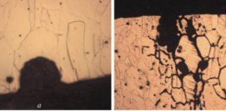 Рис. 1. Характер разрушения трубок уровнемеров из инконеля 600 после эксплуатации: а – колонна К-3 установки первичной переработки нефти ЭЛОУ–АВТ-6. ×500; б – колонна К-101 установки риформинга ЛЧ-35-11/1000. ×200