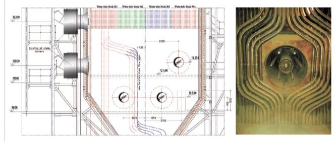 Рис. 4. Установка и внешний вид горелок на реконструированном котле ТП-101