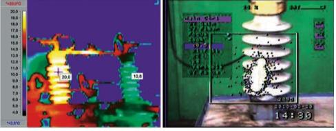 Рис. 2. Дефект керамического изолятора, выявленный с помощью тепловизора (а) и ультрафиолетового дефектоскопа в лабораторных условиях (б)