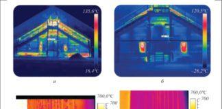 Рис. 5. Термографическое обследование установки АВТ-6 (а, б) и ее труб (в, г): а, в – до нанесения ВИП; б, г – после нанесения ВИП